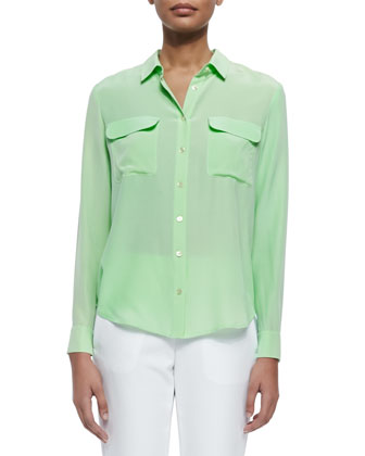 Long-Sleeve Flap-Pocket Silk Blouse