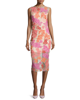 Floral-Motif Embroidered Organza Dress