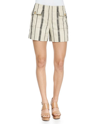 Edna Striped Flap-Pocket Shorts
