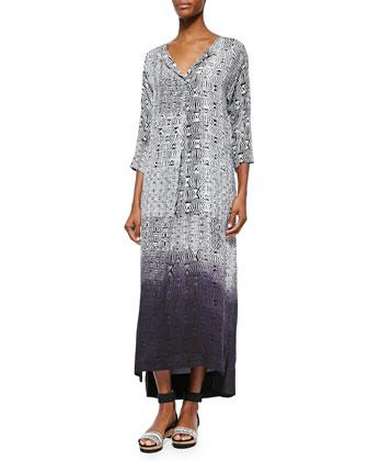 3/4-Sleeve Dip-Dyed Maxi Dress