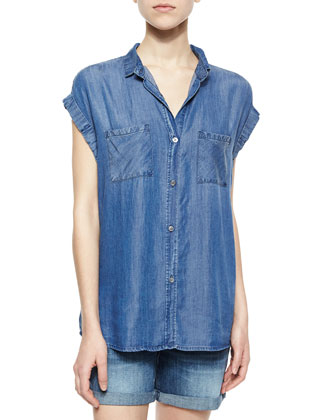 Britt Cap-Sleeve Denim Shirt