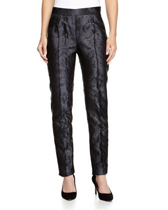 Jacquard Slim-Leg Pants, Black