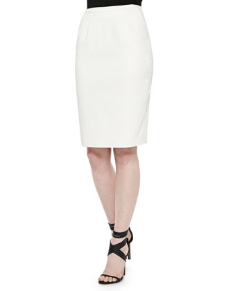 Slim Gabardine Pencil Skirt, Cream