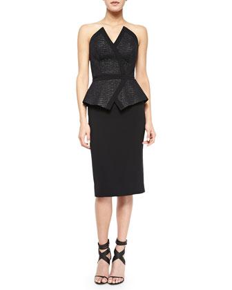 Strapless Peplum Jacquard Kimono Dress, Black