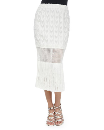 Silk Button-Down Tank & Lightweight Fringe Wrap Skirt