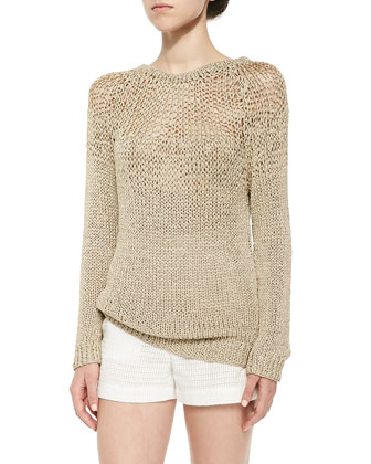 Open-Stitch Long-Sleeve Sweater & Check-Piped High-Waist Shorts
