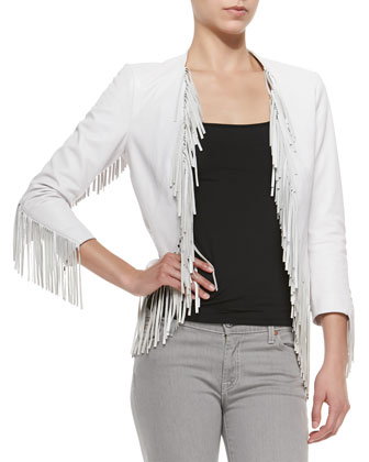 Ace Leather Fringe-Trimmed Jacket