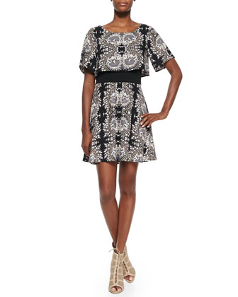 Valerie Short-Sleeve Printed Dress