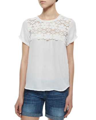 Joy Short-Sleeve Top with Lace Yoke