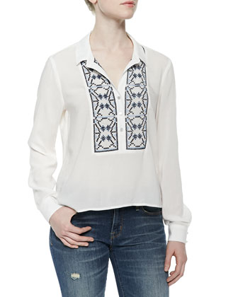 Lola Long-Sleeve Embroidered Top