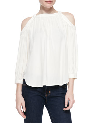 Stella Cold-Shoulder Pleated Top