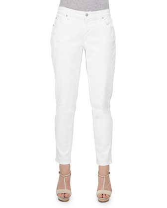 Striped Slub A-line Top & Stretch Boyfriend Jeans, Women's