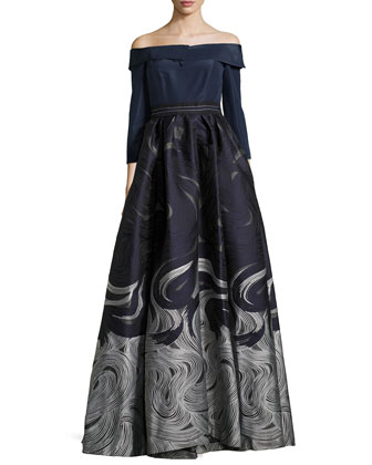 Off-the-Shoulder Ball Gown, Black/Navy/Ivory