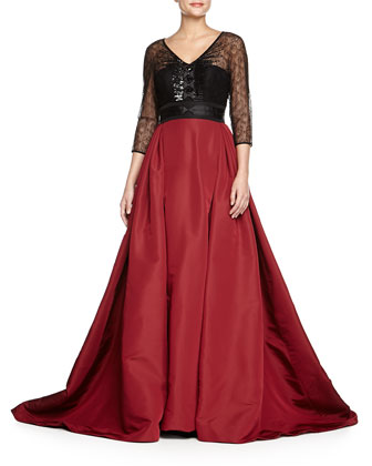 Embroidered Lace-Top Ball Gown