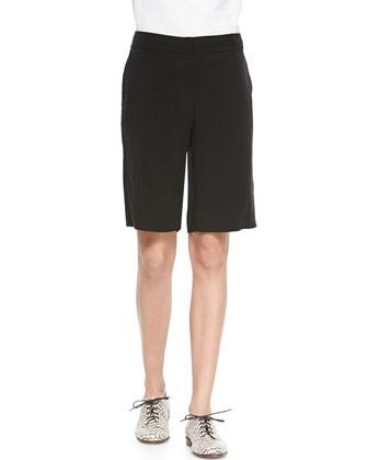 Twill Long Shorts, Black, Petite