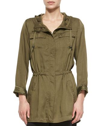 Hooded Anorak Polished Jacket, Olive, Women's