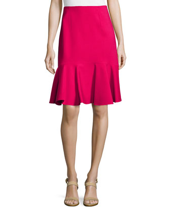 Double-Face Skirt W/ Flare Hem, Molten Red