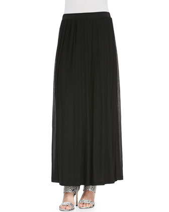 3/4-Sleeve Silk Box Top & Silk Pleated Maxi Skirt, Petite