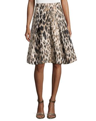 Leopard-Print Full Skirt