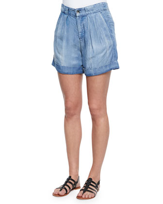 Wilder Denim Pleated Cuffed Shorts