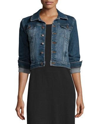 Denim Cropped Jacket & Floor-Length Jersey Dress, Petite