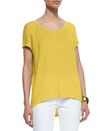 Organic Linen Jersey Cap-Sleeve Top & Stretch Boyfriend Jeans