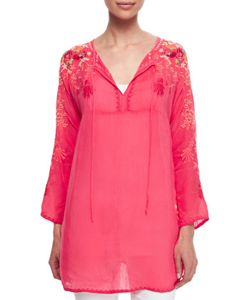 Jessica Tie-Neck Embroidered Blouse, Women's