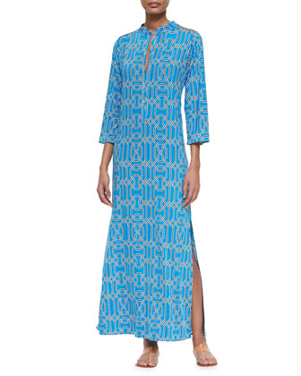 Three-Quarter-Sleeve Maxi Dress