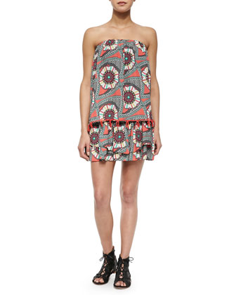 Tiered Strapless Printed Mini Dress