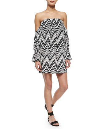 Off-the-Shoulder Zigzag-Print Dress
