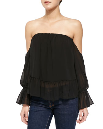 Off-the-Shoulder Top with Ruffled Hem