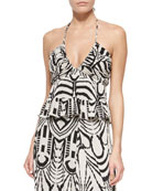 Abstract-Print V-Neck Halter Top