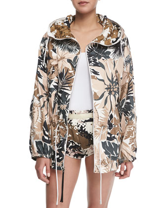 Garrison Floral-Print Hooded Jacket