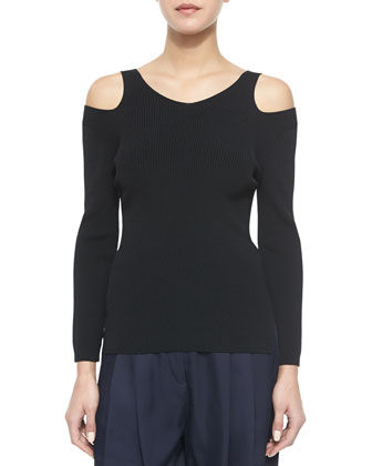 Ashlyn Ribbed Cutout Pullover & Sally Long Pleated-Front Shorts
