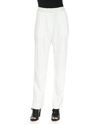 Sally Pleated Straight-Leg Pants