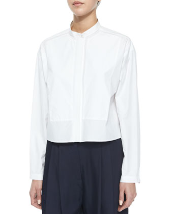 Lily Long-Sleeve Cropped Blouse & Sally Long Pleated-Front Shorts