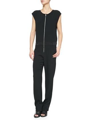 Mareth Cap-Sleeve Jumpsuit, Caviar