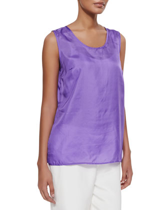 Tissue Silk Tank, Purple, Petite