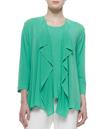 Tropical Draped Jacket, Sleeveless Longer Tank & Stretch-Knit Straight-Leg ...