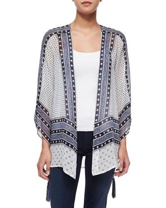 Artigas Mixed-Print Kimono Cardigan, Coconut