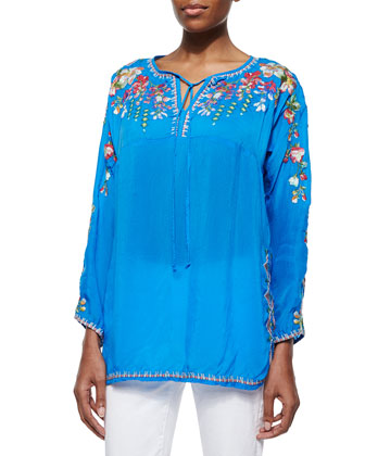 Vanessa Georgette Embroidered Tunic, Women's