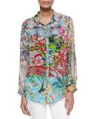 Milla Long-Sleeve Floral-Print Blouse, Women's