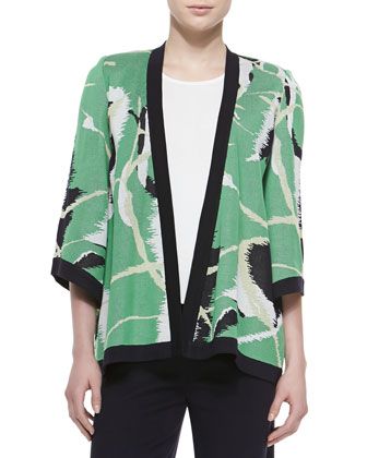Abstract Printed Open Jacket, Scoop-Neck Knit Tank & Washable Wide-Leg ...