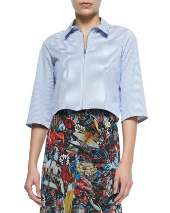 Diana Zip-Front Cropped Shirt