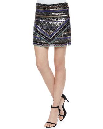 Beaded Kelsey Fringe Crop Top & Corsica Skirt