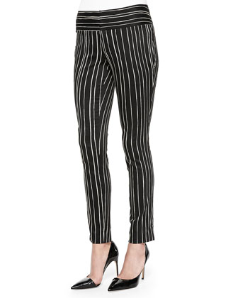 Striped Low-Rise Slim Trousers