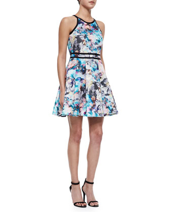 Emmy Floral-Print Pleated Dress