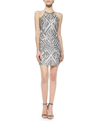 Jaden Sleeveless Printed Dress w/ Beading