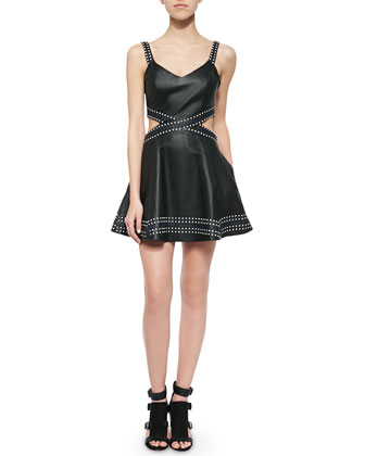 Rune Leather Fit-and-Flare Dress with Cutouts