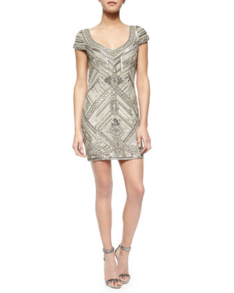 Elijah Short-Sleeve Beaded Dress